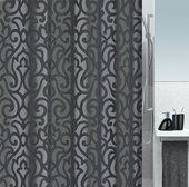 Штора для ванной 180x200см текстильная серо-чёрная Spirella RAVENNA 1016317