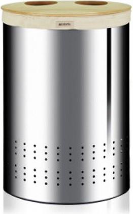 Бак для белья двухсекционный из нержавеющей стали с деревянной крышкой 40л Brabantia 360381