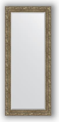 Зеркало с фацетом в багетной раме 65x155см виньетка античная латунь 85мм Evoform BY 3567