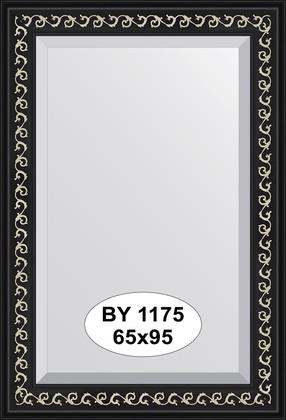 Зеркало 65x95см с фацетом 30мм в багетной раме чёрный ардеко Evoform BY 1175