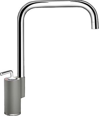 Кухонный однорычажный смеситель в высоким изливом, хром / алюметаллик Blanco AJARIS 520816