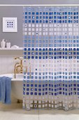 Штора для ванны 180x200см синяя с кольцами 12шт Grund KASKADE 825.98.116