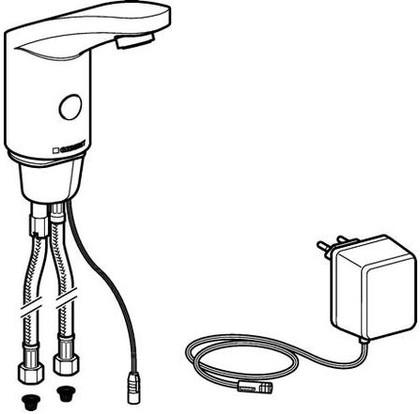 Бесконтактный смеситель тип 185 для умывальника с внутренней регулировкой температуры, 230В Geberit 116.145.21.1