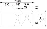 BLANCO ZEROX 6 S-IF/А Схема с размерами вид сверху