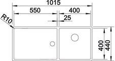 BLANCO CLARON 400/550-Т-U Схема с размерами вид сверху
