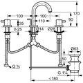 Смеситель для раковины вентильный на 3 отверстия с донным клапаном, хром Kludi BOZZ 383910576