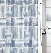 Штора для ванной комнаты 180x200см текстильная, синяя Spirella GRAFFIO 1017908