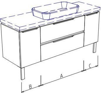 Тумба напольная, 2 ящика, 2 дверцы, без столешницы и раковины 140х50х50см Verona Ampio AM210.A080.B030.C030