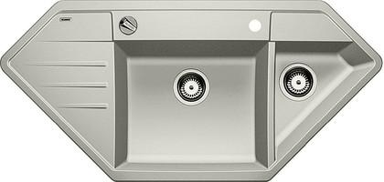 Кухонная мойка крыло слева, с клапаном-автоматом, гранит, жемчужный Blanco LEXA 9 E 520564