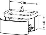 Тумбочка под умывальник подвесная, 349x780мм, белый глянец Duravit HAPPY D 627722