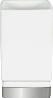 Стакан керамический, белый/серебро Spirella ROMA 1017968