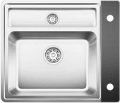 Кухонная мойка без крыла, с клапаном-автоматом, с коландером, нержавеющая сталь зеркальной полировки Blanco STATURA 6-IF Crystal (чёрное стекло) 516029