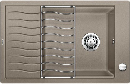 Кухонная мойка оборачиваемая с крылом, с клапаном-автоматом, гранит, серый беж Blanco ELON XL 6 S 518743