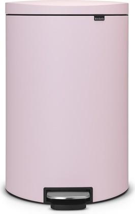 Розовый мусорный бак с педалью 40л Brabantia FlatBack+ 103926