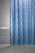 Штора для ванны 180x200см синяя с кольцами 12шт Grund MOSAICO 2179.98.1018