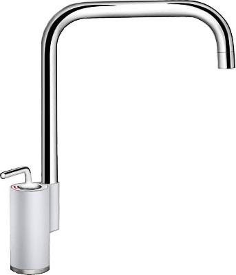 Кухонный однорычажный смеситель в высоким изливом, хром / белый Blanco AJARIS 520817