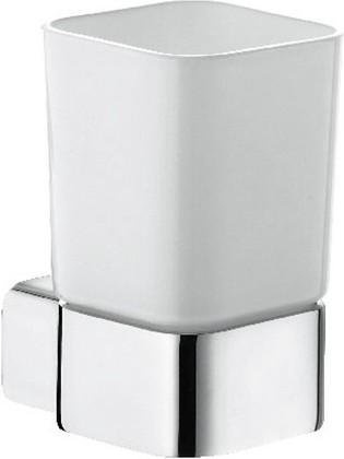 Стакан стеклянный с настенным хромированным держателем Kludi E2 4997505