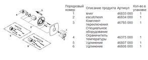 Смеситель однорычажный для ванны встраиваемый без встраиваемого механизма и без излива, хром Grohe GRANDERA 19920000