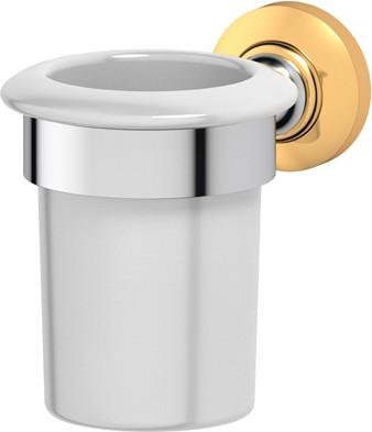 Стакан фарфоровый с настенным металлическим держателем, хром золото 3SC STI 103
