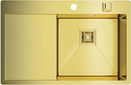 Кухонная мойка с левым крылом, нержавеющая сталь, золото Omoikiri Akisame 78-LG-R 4993086