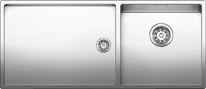 Кухонная мойка основная чаша справа, без крыла, нержавеющая сталь зеркальной полировки Blanco CLARON 400/550-Т-IF 517233