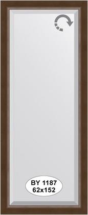 Зеркало 62x152см с фацетом 25мм в багетной раме орех Evoform BY 1187
