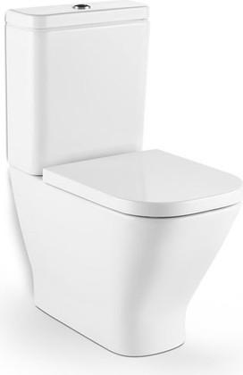 Унитаз напольный Clean Rim с двойным сливом, комплект (чаша, бачок, сиденье) Roca The GAP 342737-1