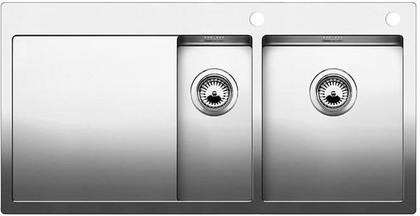 Кухонная мойка чаши справа, крыло слева, с клапаном-автоматом, нержавеющая сталь зеркальной полировки Blanco CLARON 6 S-IF/А 514001