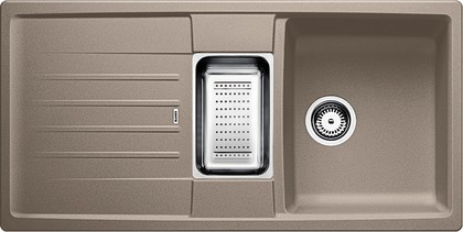Кухонная мойка оборачиваемая с крылом, с клапаном-автоматом, гранит, серый беж Blanco LEXA 8 S 517341