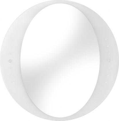 Зеркало 60x60см круглое с белой матовой окантовкой и кристаллами Swarovski Dubiel Vitrum IDEA 5905241000961