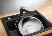 Кухонная мойка без крыла, с клапаном-автоматом, гранит, тёмная скала Blanco DALAGO 6 518850
