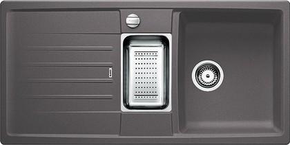 Кухонная мойка оборачиваемая с крылом, с клапаном-автоматом, коландером, гранит, тёмная скала Blanco LEXA 6 S 518860