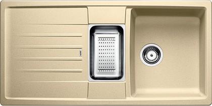 Кухонная мойка оборачиваемая с крылом, с клапаном-автоматом, коландером, гранит, шампань Blanco LEXA 6 S 514672