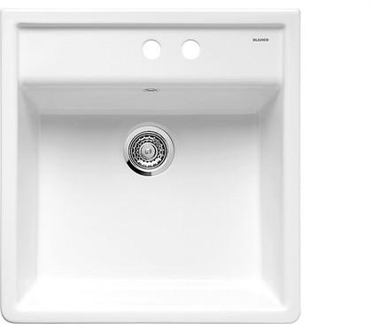 Кухонная мойка на два отверстия без крыла, керамика, белый глянцевый Blanco PANOR 60 514501