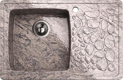 Кухонная мойка крыло справа, гранит натуральный, песочный Omoikiri Natori ONA-78-1-GR-SA