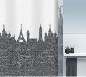 Штора для ванны 180x200см текстильная чёрно-белая Spirella URBAN 1015558