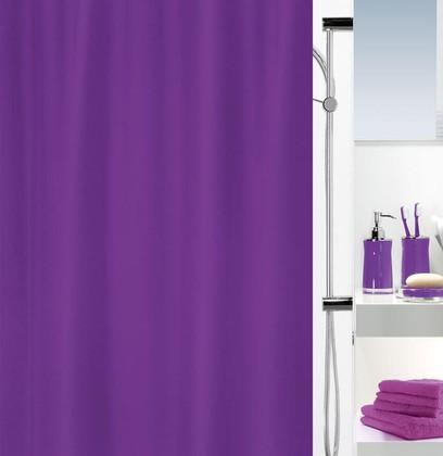 Штора для ванной комнаты 180x200см текстильная фиолетовая Spirella ATLAS 4006260