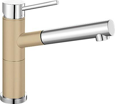 Небольшой кухонный однорычажный смеситель с выдвижным изливом, хром / шампань Blanco ALTA-S Compact 515329