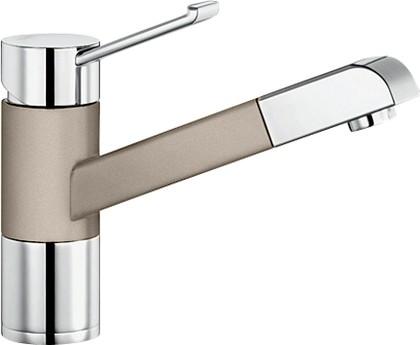 Смеситель кухонный однорычажный с выдвижным изливом, хром / серый беж Blanco ZENOS-S 517828