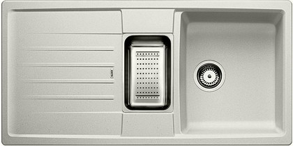 Кухонная мойка оборачиваемая с крылом, с клапаном-автоматом, коландером, гранит, жемчужный Blanco LEXA 6 S 520558