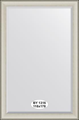 Зеркало 118x178см с фацетом 30мм в багетной раме травлёное серебро Evoform BY 1316