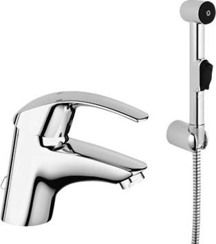 Смеситель однорычажный для раковины с цепочкой и гигиеническим душем с минибиде лейкой и настенным держателем, хром Grohe EUROSMART 23124000