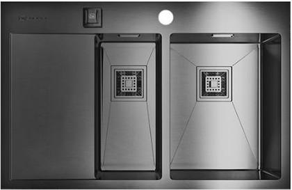 Кухонная мойка с левым крылом, нержавеющая вороненая сталь Omoikiri Akisame 78-2-GM-R 4993102