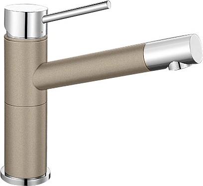 Небольшой кухонный однорычажный смеситель, хром / серый беж Blanco ALTA Compact 517633