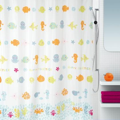 Штора для ванной комнаты 180x200см текстильная Spirella HAPPY FISH 1017890