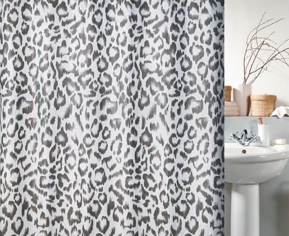 Штора для ванны 180x200см текстильная чёрный леопард Spirella MASAIMARA 1017081