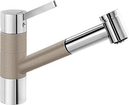 Смеситель кухонный однорычажный с высоким выдвижным изливом, хром / серый беж Blanco TIVO-S 517619