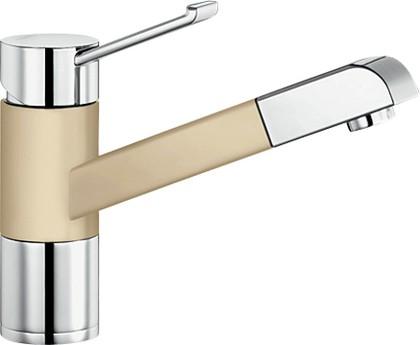 Смеситель кухонный однорычажный с выдвижным изливом, хром / шампань Blanco ZENOS-S 517824