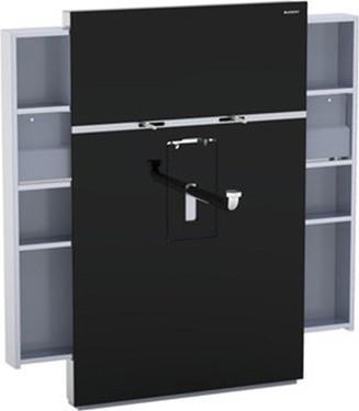 Инсталляция для подвесного умывальника и смесителя, выдвижной ящик слева и справа, чёрное стекло Geberit MONOLITH 131.050.SJ.1