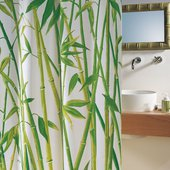 Штора для ванной 240x180см текстильная зелёная Spirella BAMBUS 1042058
